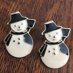 🆕 Antique Brass Snowman Earrings
